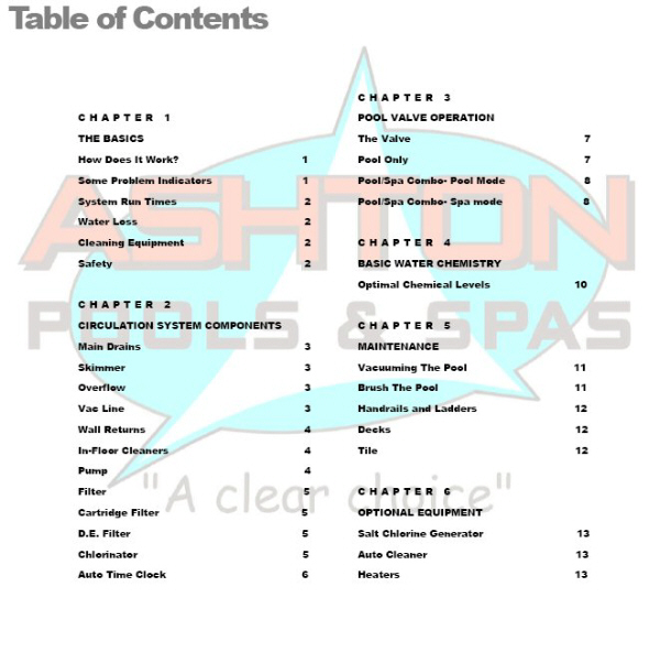 Table Of Contents Operation Manual Ashton Pools